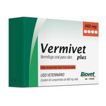 Vermífugo Vermivet Plus 660mg Para Cães Até 10 Kg Com 4 Comprimidos - Biovet