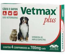 Vermifugo Vetmax Plus Vetnil Para Cães E Gatos 4 Compr 700mg - Agropet Nutrimed