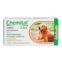 Vermífugos Chemital Cães Chemitec c/ 4 Comprimidos -