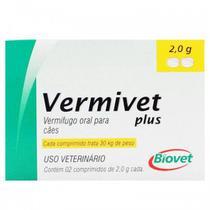 Vermivet Plus 2,0 g - Vermífugo Para Cães - 2 Comprimidos - Biovet