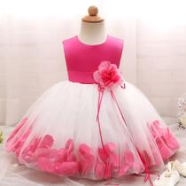 Vestido Bebe Festa Aniversario Pink  Petala de Rosas     Tam 9/12 meses - Ranna Bebe