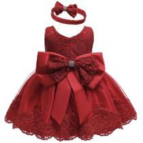 Vestido bebe festa princesa realeza renda estruturada***tam 6/9 meses*** - Ranna Bebe