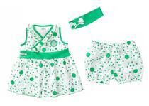 Vestido Bebê Infantil Palmeiras com Shorts e Tiara Oficial - Revedor