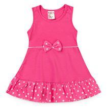 Vestido Bebê Menina Rosa com Bolas Brancas - Fantoni