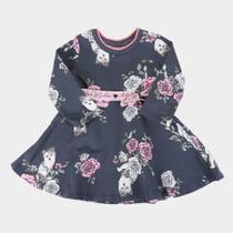 Vestido Bebê Milon Moletinho Estampado Manga Longa -