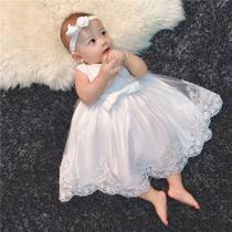 Vestido Bebe Princesa Branco Batizado Renda + Faixa Tam 4/6 meses - Ranna Bebe
