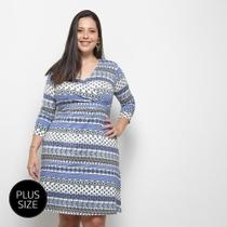 Vestido Blomma Estampando Plus Size Transpassado -