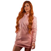 Vestido Blusão Moletom Liso Rosa Tubinho Capuz E Bolso R 002 - Bugado