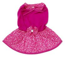 Vestido Cachorro Malha Laço Rosa Saia Estampada Flores Gg - Nica Pet