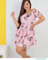 Vestido Ciganinha Rosa Crepe Seda  Tam M -