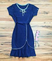 Vestido Cristina Peplum Saia Bella SB504106 Azul -