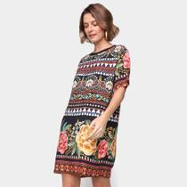 Vestido Curto Farm T-Shirt Brilho Tropical -