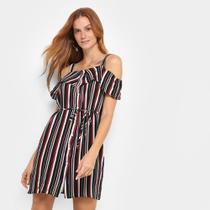 Vestido Curto Lily Fashion Listrado Botões Open Shoulder -