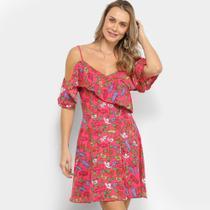 Vestido Curto Yutz Open Shoulder Floral -