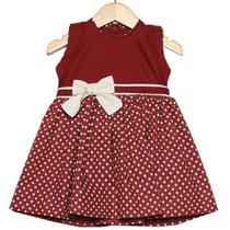 Vestido de Bebê Poá Bordô - Tieloy