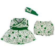 Vestido de bolinha revedor palmeiras com tiara e short feminino branco e verde -