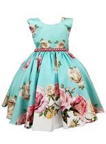 Vestido de festa infantil verde turquesa rosas 4 ao 16 - Giovanella