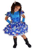 Vestido de festa junina caipira infantil com luva elaço de cabelo p - PARTYLIGHT
