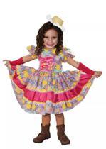 Vestido de festa junina caipira infantil com luva elaço de cabelo - Partylight