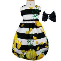 2048aecb26 Vestido de Festa Luxo Flores e Listras Com Tiara