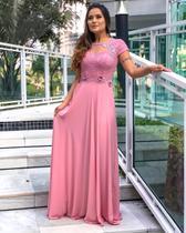 Vestido de Festa Rosê e Marsala Manga Madrinha Formatura Casamento Civil Reveillon Cantata  Natal - Elegance