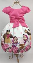 Vestido de festa temático masha e o urso 1 ao 8 - Xuxuzinhos Baby