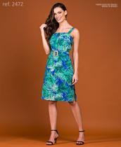 Vestido de festa tubinho curto de sarja estampado - Ref. 2472 Azul - Seuvestido