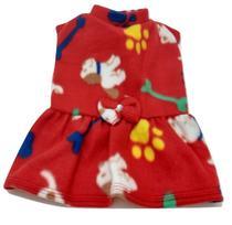Vestido De Inverno Soft Cachorro Vermelho Estampado Tam M - Nica Pet