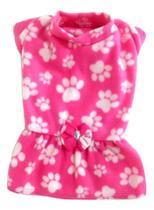 Vestido De Inverno Soft Rosa Com Estampa Patinhas Tamanho M - Nica Pet