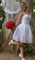 Vestido de noiva 15 anos curto casamento civil barra renda brilho - Partylight Atelier Das Noivas