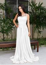 Vestido de noiva com renda saia godê total elegante - Partylight Atelier Das Noivas