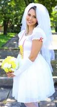 Vestido de noiva de festa junina caipira com luva e véu m - partylight