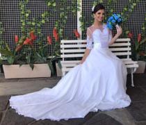 Vestido de noiva manga 3/4 com cauda - Partylight Atelier Das Noivas