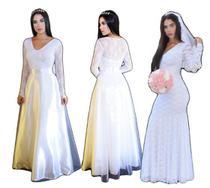 Vestido de noiva sereia e princesa 2 em 1 para casamento civil igreja e fotos - Partylight Atelier Das Noivas