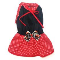 Vestido De Verão Para Cachorro -Preto Com Laço Da Minnie - M - Nica Pet