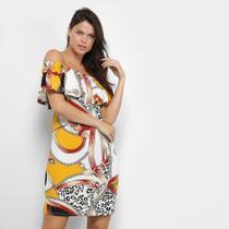 Vestido Dom Fashion Ombro a Ombro Estampa Corrente -