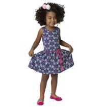 Vestido estampado em Meia Malha - Lacinhos - Azul - Kyly -
