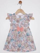 Vestido Estampado Infantil Para Bebê Menina - Salmão - Fantoni