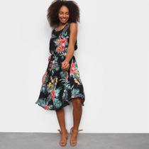 Vestido Facinelli Midi Floral Com Amarração -