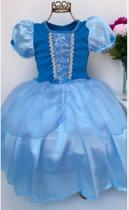 Vestido Fantasia Luxinho Princesas Azul - Puzzle Company