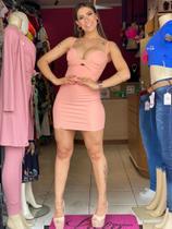 Vestido feminino em poliamida rosa - Sal E Pimenta