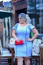 Vestido Feminino Jeans Com Lycra Azul Claro Manga Ciganinha G - Jacto