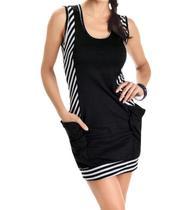 0da3090aaf Vestido Feminino Listrado Com Bolsos preto Ref.p30! - Nacional