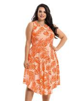 Vestido Feminino Plus Size Folhagem Midi Festa G1 - La Belle Moda Plus Size