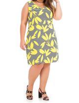 015d5ebb0e Vestido feminino Plus Size regata estampa folhas ref.ro6v - Rovitex