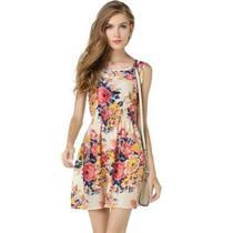 af6d2255ee Vestido Feminino Poliéster Malha Leve Estampa Floral Gola O Claro - Liva  girl