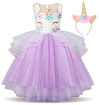 Vestido Festa Aniversário Infantil Unicornio - Lary Dressy