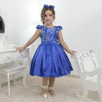 Vestido festa infantil azul com tule francês com bordado floral - Moderna Meninas
