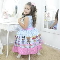 Vestido festa infantil das mínis bonecas Lol surprise azul e rosa - Moderna Meninas