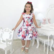 Vestido festa Infantil floral com rosas marsala e borboletas - Moderna Meninas